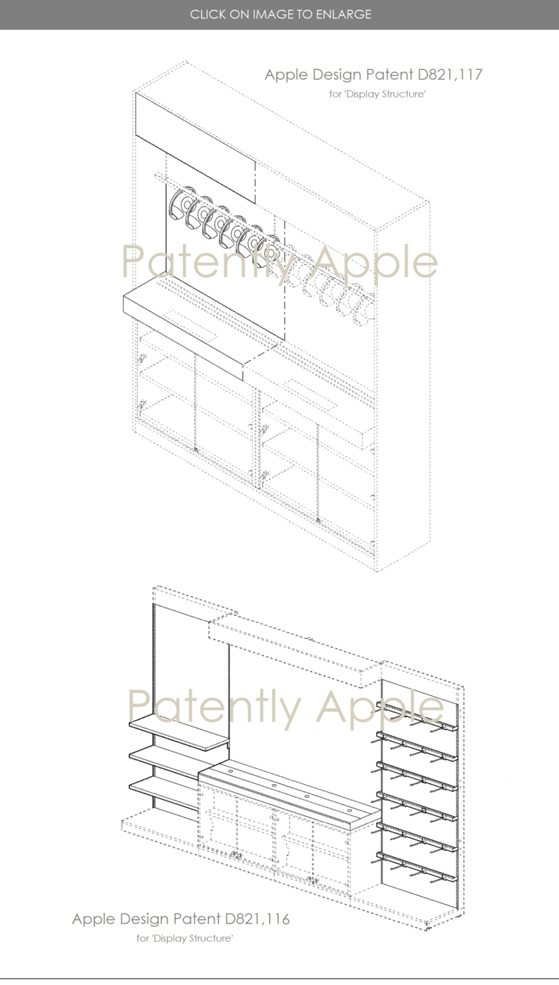 4 design patents for apple store display structures