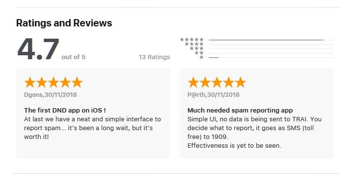 2 x Apple App Store rating review of DND on iOS