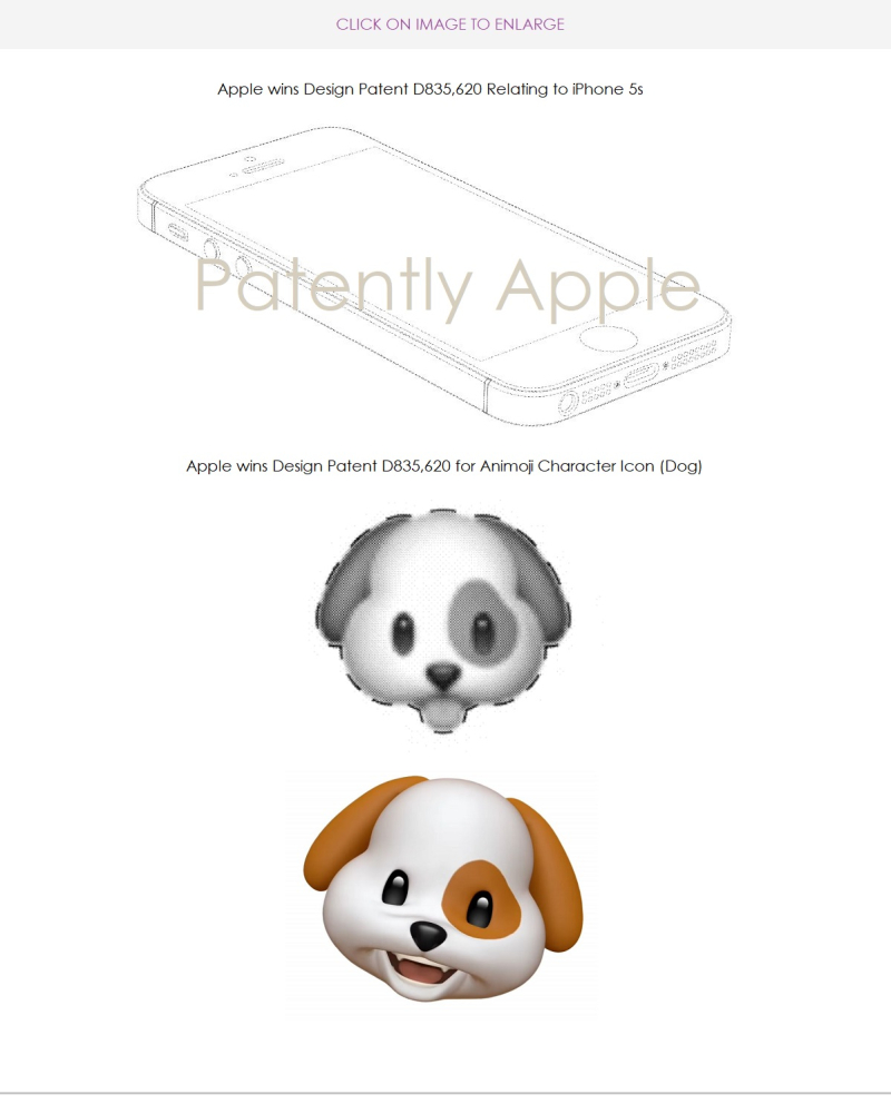 5 Apple design patent relating to the iPhone 5s. and Animoji dog icon - Patently Apple report Dec 11  2018
