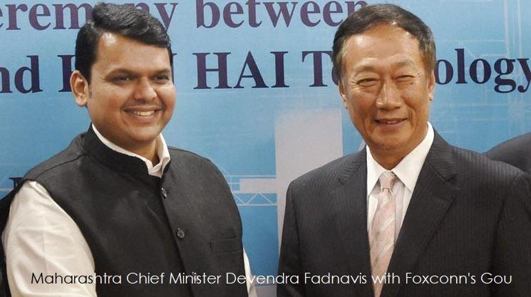 1 cover foxconn + Devendra Fadnavis with Terry Gou Foxconn