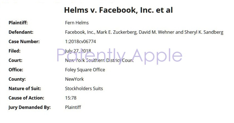 2 Xx second class action lawsuit against Facebook filed by Fern Helms