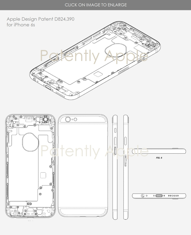 3 X apple design patent D824 390 for iPhone 6s
