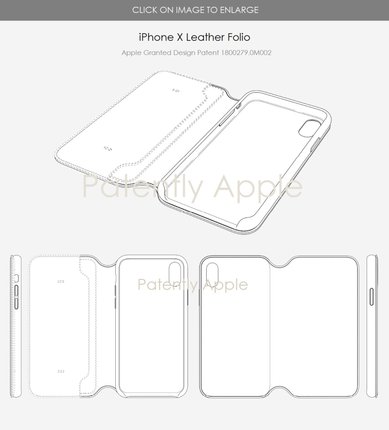 3 X  iPhone X leather Folio - granted design patent 1800279.0M002 - Aug 2018 - Patently Apple report