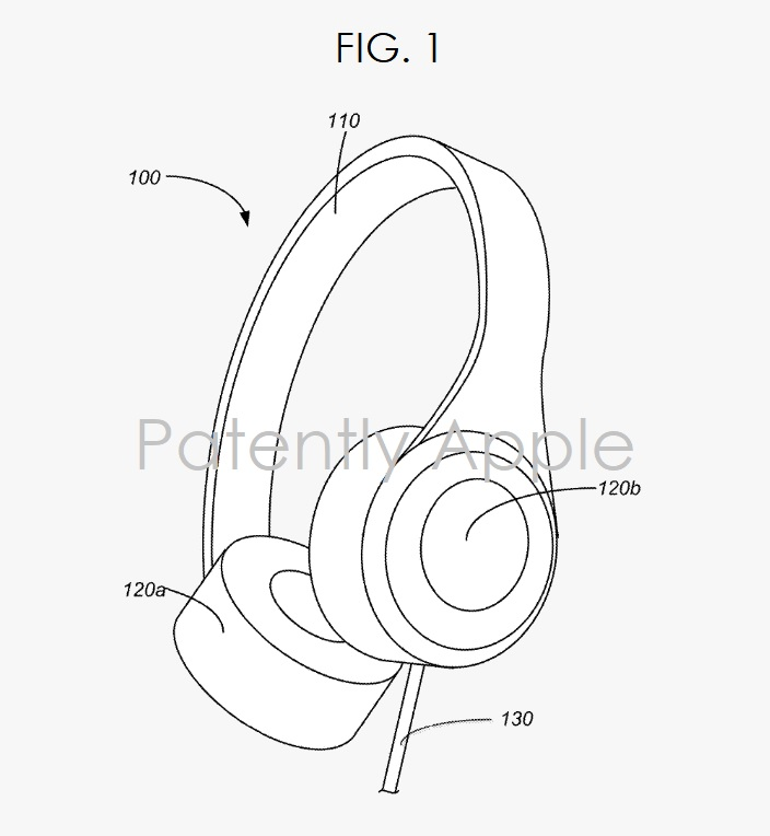 2 apple wins patent  fig. 1 over the ear headphones