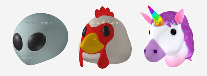 1 Cover  Animoji design patent wins  #1 Aliens  Chickens & Unicorns     -   Patently Apple report aug 2018