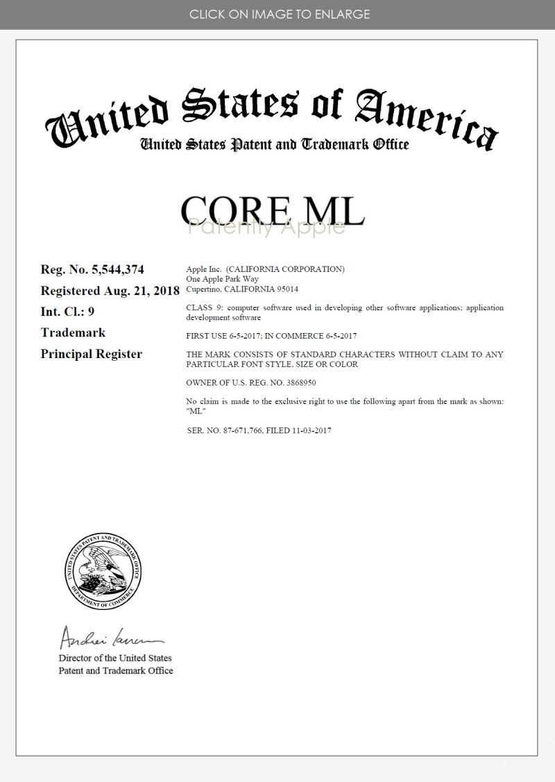 7 USPTO CERTIFICATE  RTM FOR CORE ML AUG 28  2018 - PATENTLY APPLE REPORT SEPT 3  2018