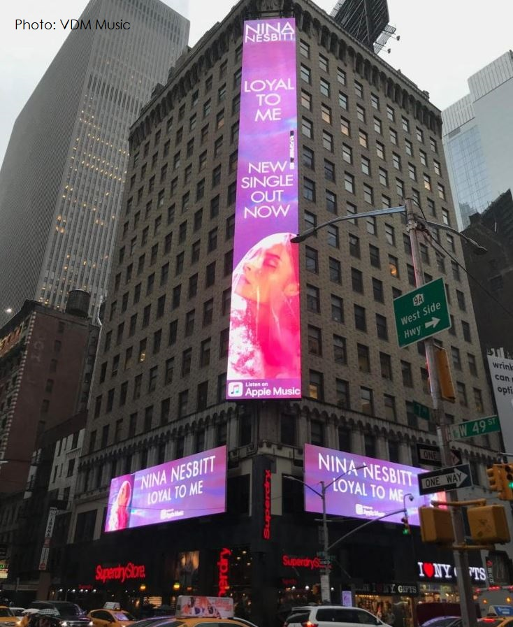 2 Final X Apple Music billboard times square NY for Nina Nesbitt Sept 2018