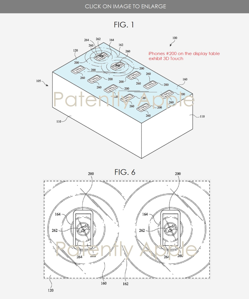 2 Apple granted patent figs 1 & 6 for display table with emersive experience promoting 3D Touch