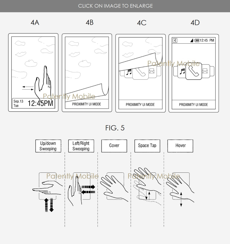 3 Samsung in-air gesturing patent  motion patent patent figs 4A-D + fig. 5