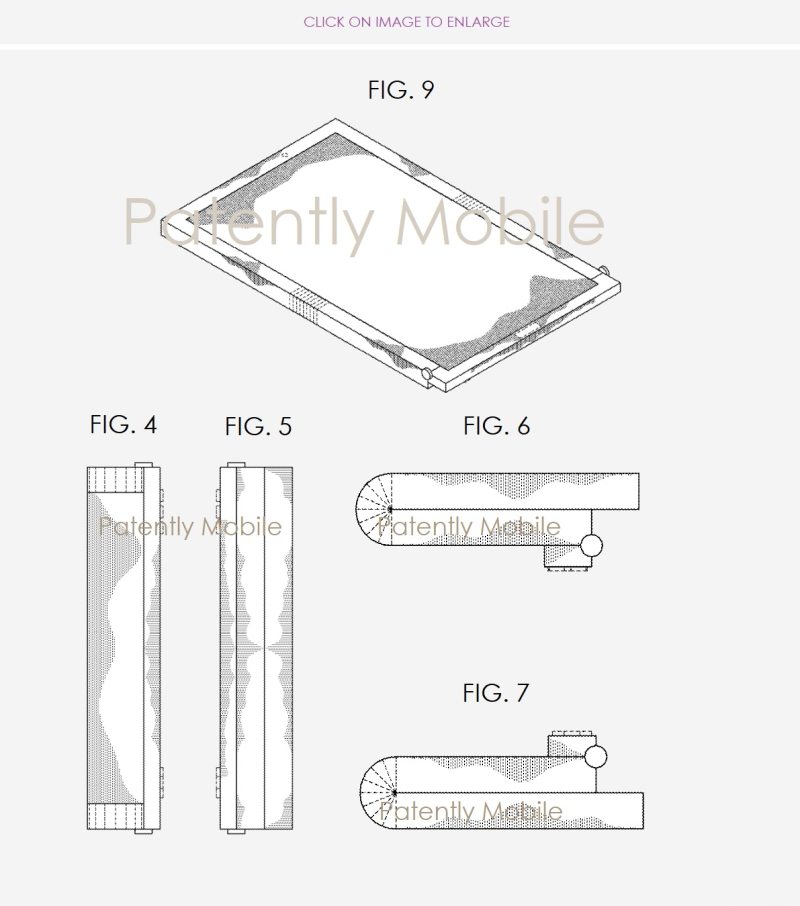 4 samsung design patent figures for folding smartphone with gaming controls