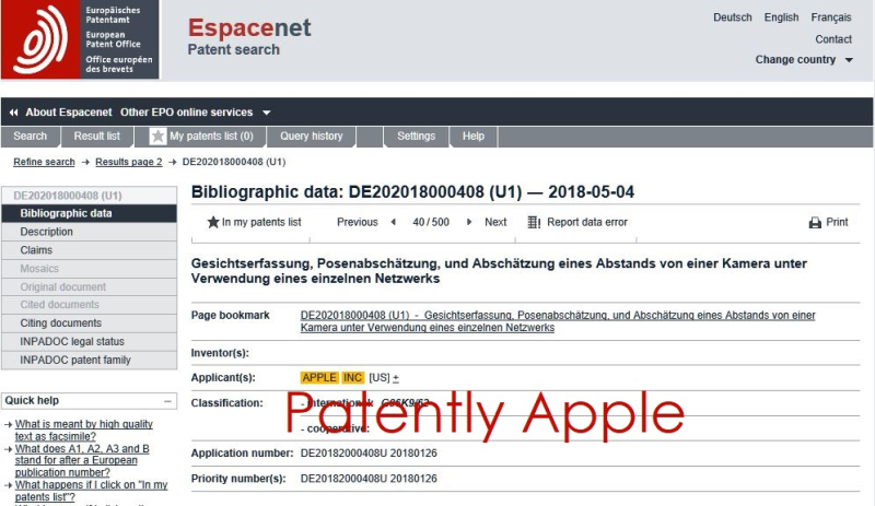 2 EU Patent Office  Apple Patent for Face ID