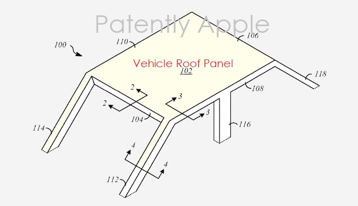 1 x Cover roof structure of car apple patent   patently apple