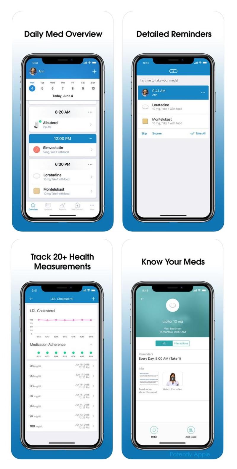 3 x medisafe screenshots of app