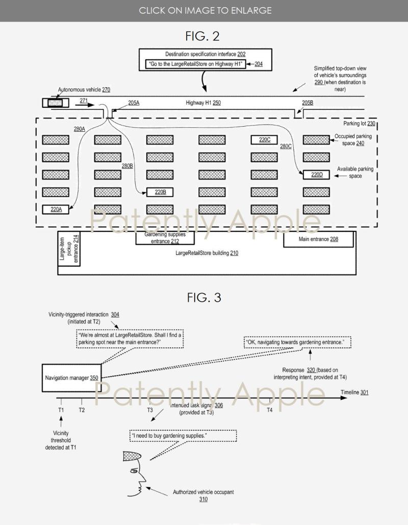 3 X Apple Autonomous Vehicle patent figs. 2 and 3