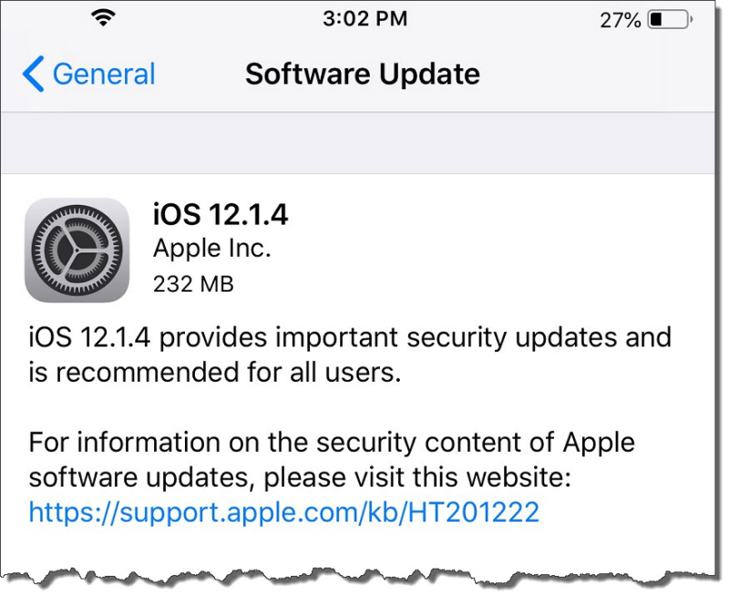 2 X iOS 12.1.4 with security update