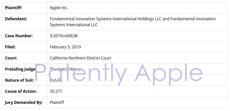 2 X overview of the case Apple vs Fundamental Innovation systems International ... Patently Apple  Patently Legal report Feb 8  2019