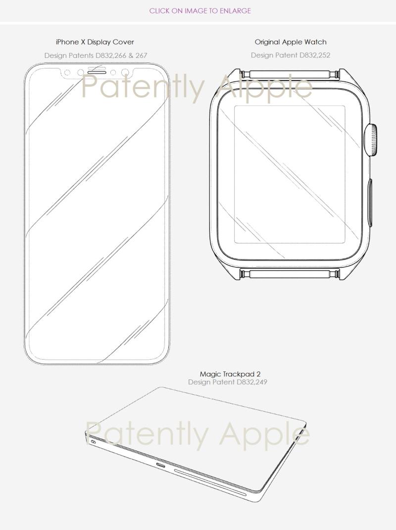 4 design patent wins oct 30  2018 iphone x apple watch magic trackpad 2