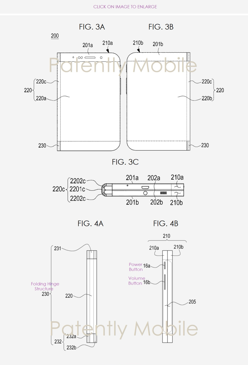a major samsung foldable device patent surfaced the day after iphone 5s logic board diagram 2 samsung folding smartphone patent figs 2abc nov 2018 patently mobile report