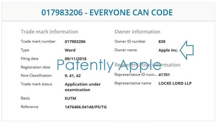 4 -X =  3 EU TMs Apple nov 13  2018 Patently Apple Report