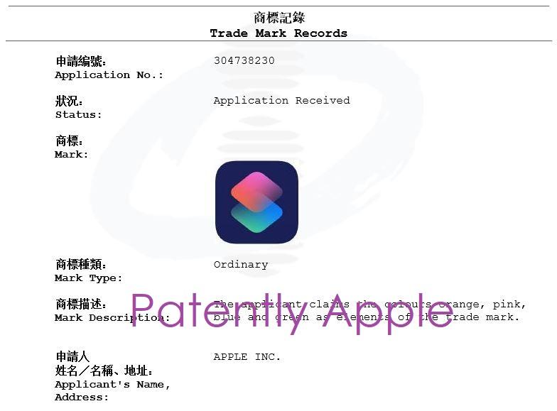 5 X Shortcuts TM filing in Hong Kong Nov 2018 - Patently Apple report