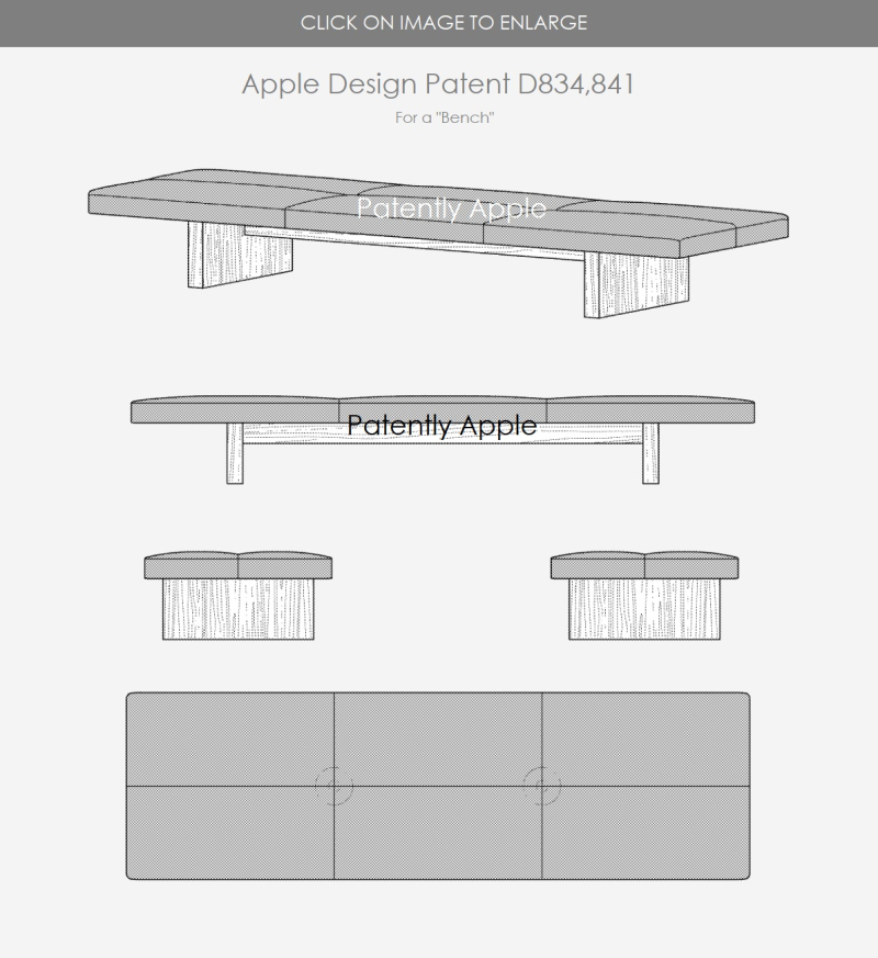 5 X -  Apple Design Patent for a Bench D834 841 - Patently Apple report Dec 4  2018