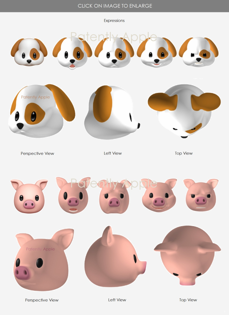 2 dog  pig Animojis Apple  design patents aug 2018  Patently Apple report