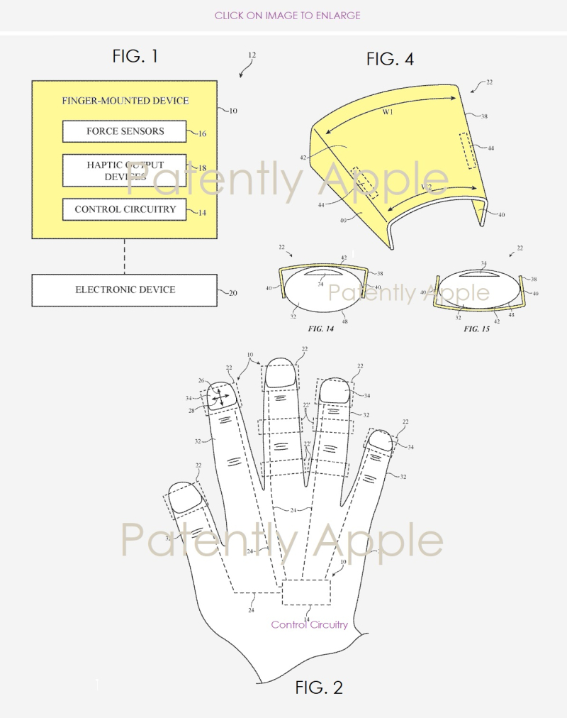 2 Apple patent figs 1 2  4  14  15  Patently Apple report finger mounted device