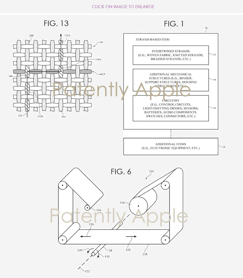 3 smart fabrics patent  apple figs 1  6 & 13