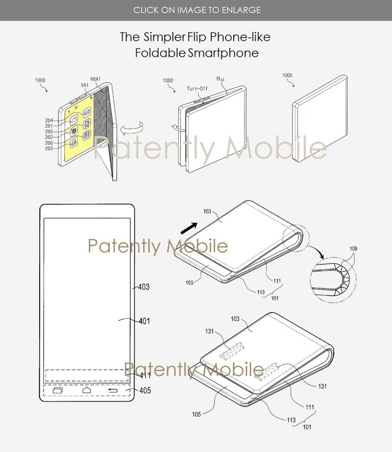 2 X simpleton flip-like foldabel smartphone designs Samsung