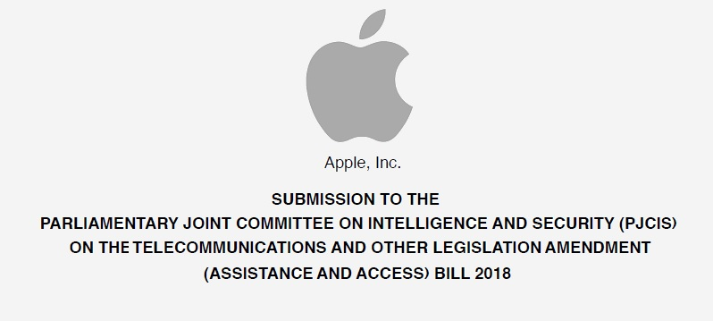 1 X cover Apple's submitted letter to Australian Parliament