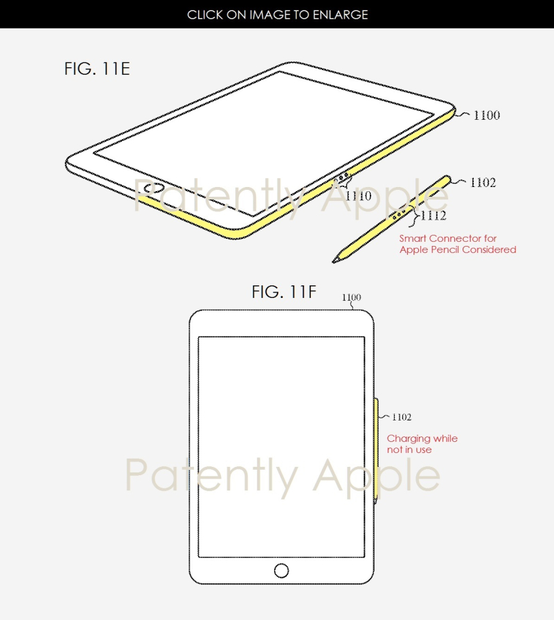2 apple pencil patent figures 2017 for new way of charging magnetically