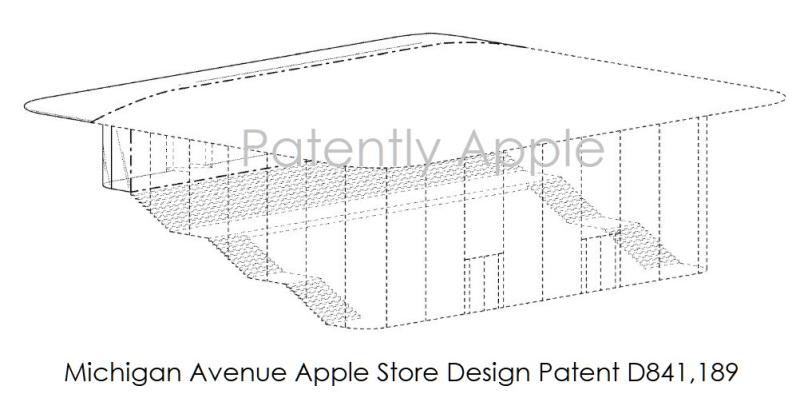 4 X Apple Store design patent for Chicago Michigan avenue
