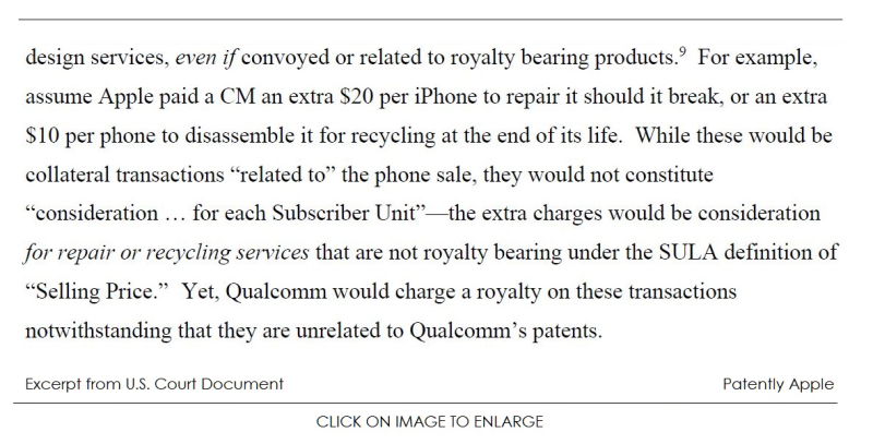 2 Excerpt from new court document  Apple & manufactures v Qualcomm