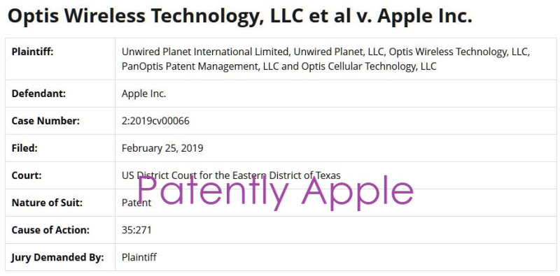 2 X Apple sued by Optis wireless + 4 others for patent infringement