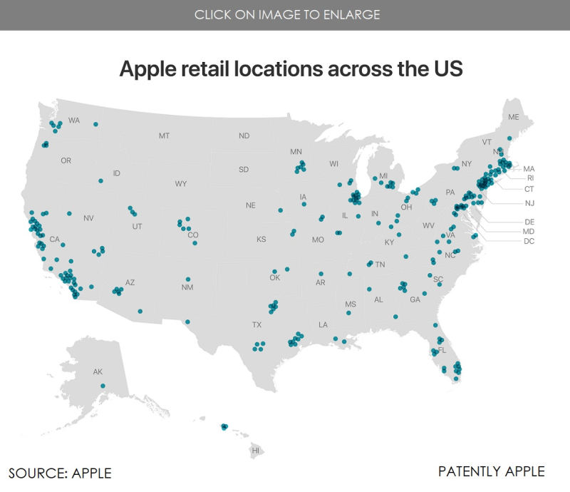 6 - APPLE RETAIL LOCATIONS ACROSS THE US