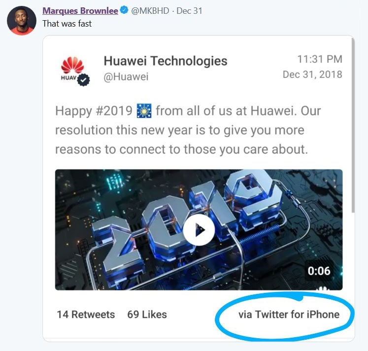 2 marque brownlee on Huawei tweet on iphone