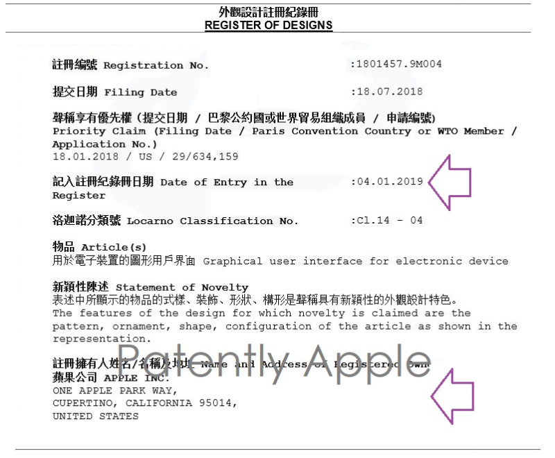3. Apple  Hong Kong Granted TM JAN 4 2019 IN-PART FORM