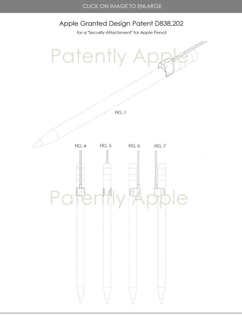 5 design patent for  apple pencil security attachment