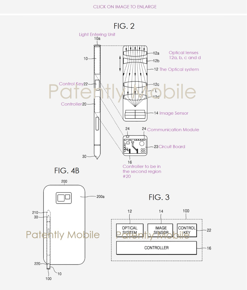 2 Samsung wins patent for an S Pen with a camera built-in with optical zoom