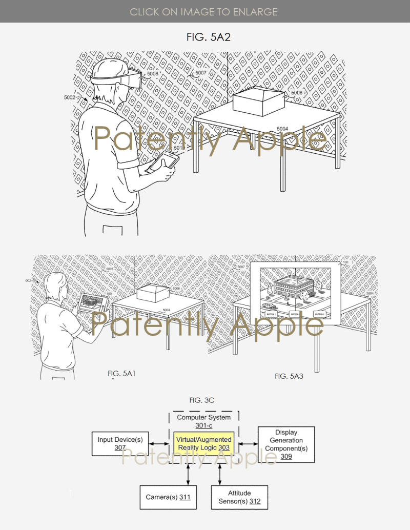 2 Apple AR Patent showing with and without Mixed Reality headset viewing VR content on a table