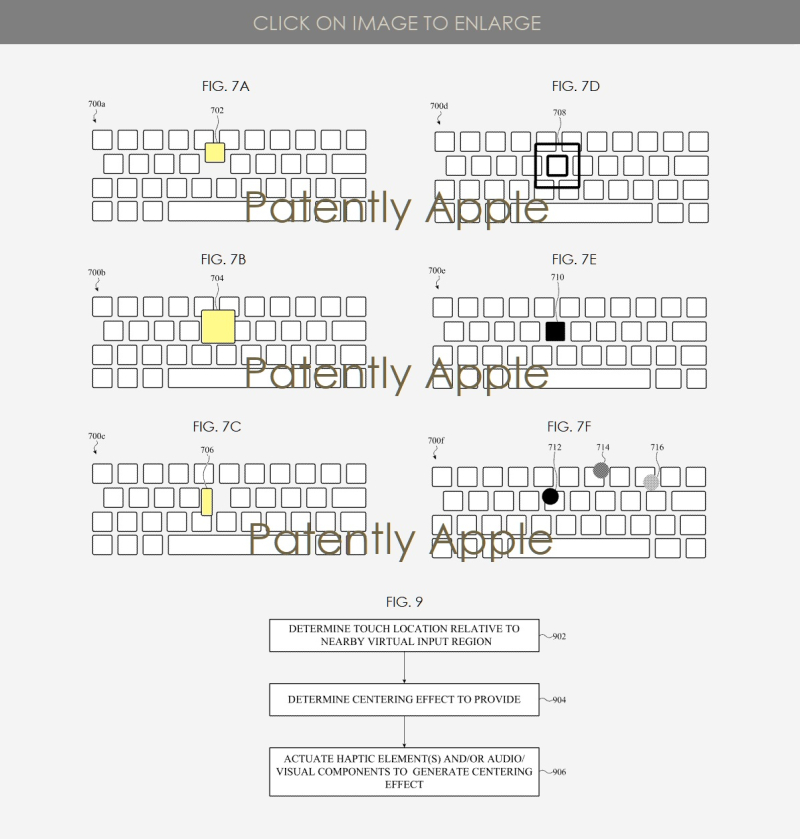 3 X Apple patent figs for Realignment features for virtual keyboards