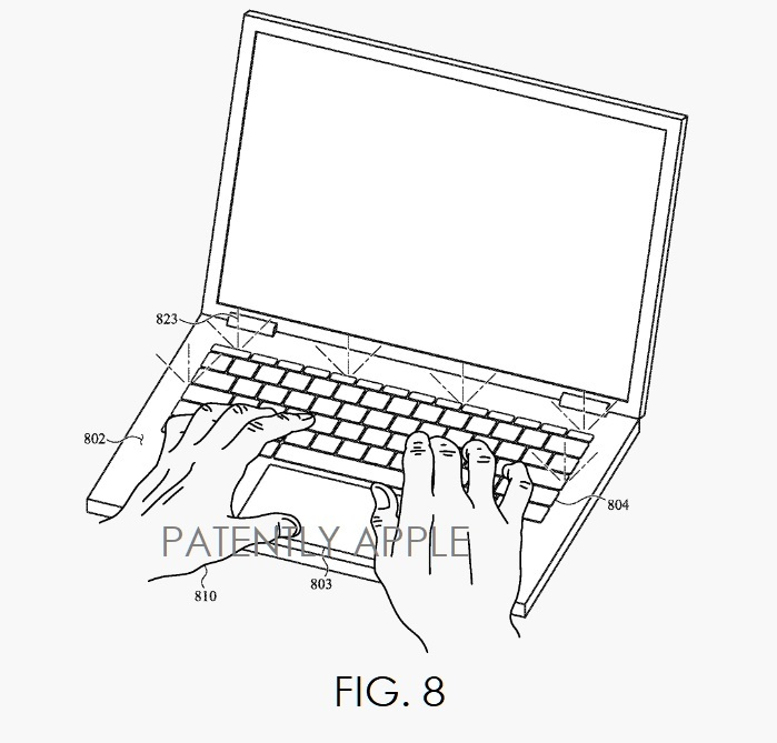 4 FIG 8 APPLE BIOSENSOR PATENT  ILLUMINATING KEYBOARD AND TRACKPAD BASED ON USER PRESENCE