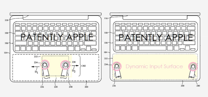 1 X Cover MacBook with Dynamic Active Area replacing traditional Trackpad  Mar 7  2019 report by Patently Apple