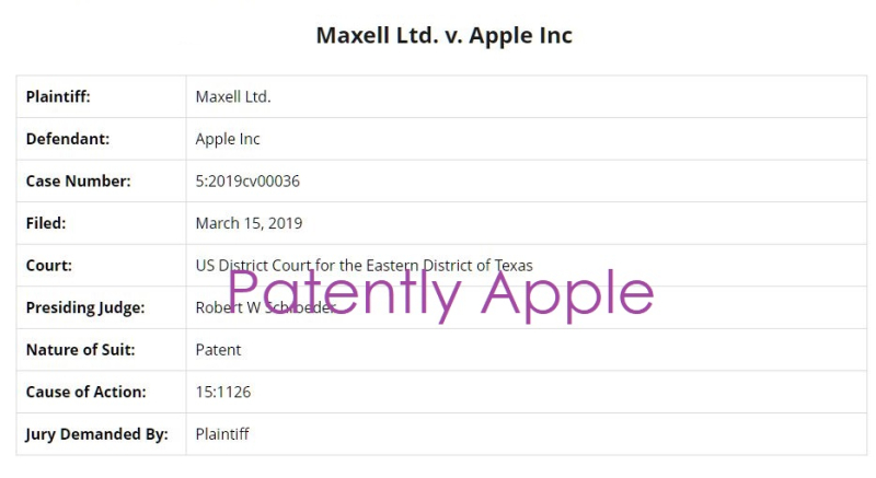 3 X overview Maxwell Ltd v Apple Inc patent infringement case  Patently Apple report - Mar 17  2019 -