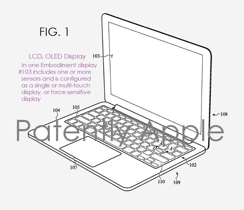 5 MacBook patent fig from carbon fiber keyboard patent  still points to new display options being considered  Patently Apple report mar 29  2019
