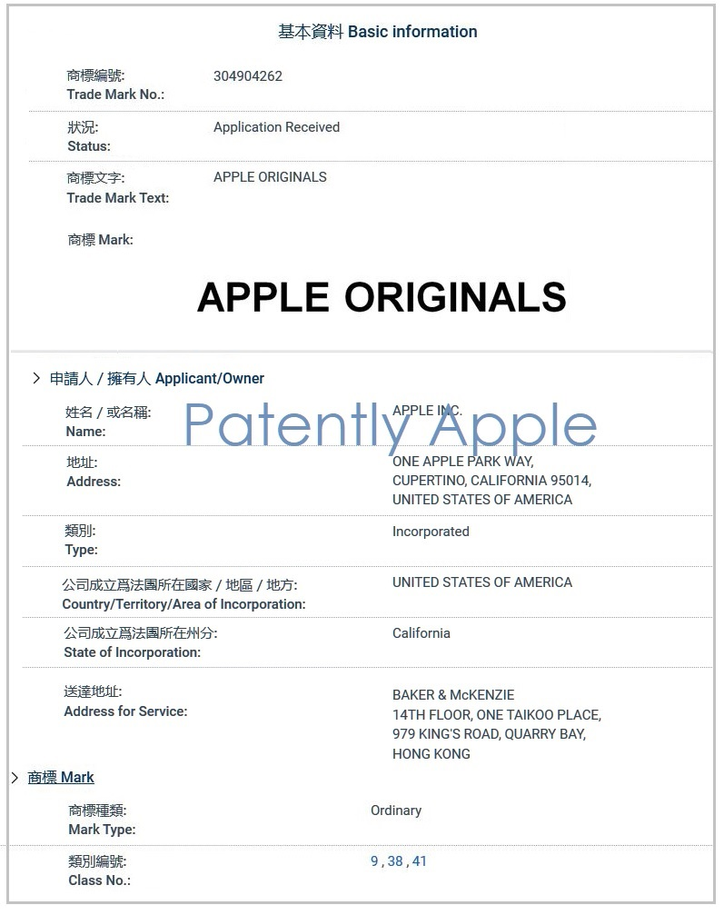 Apple Files Trademarks for