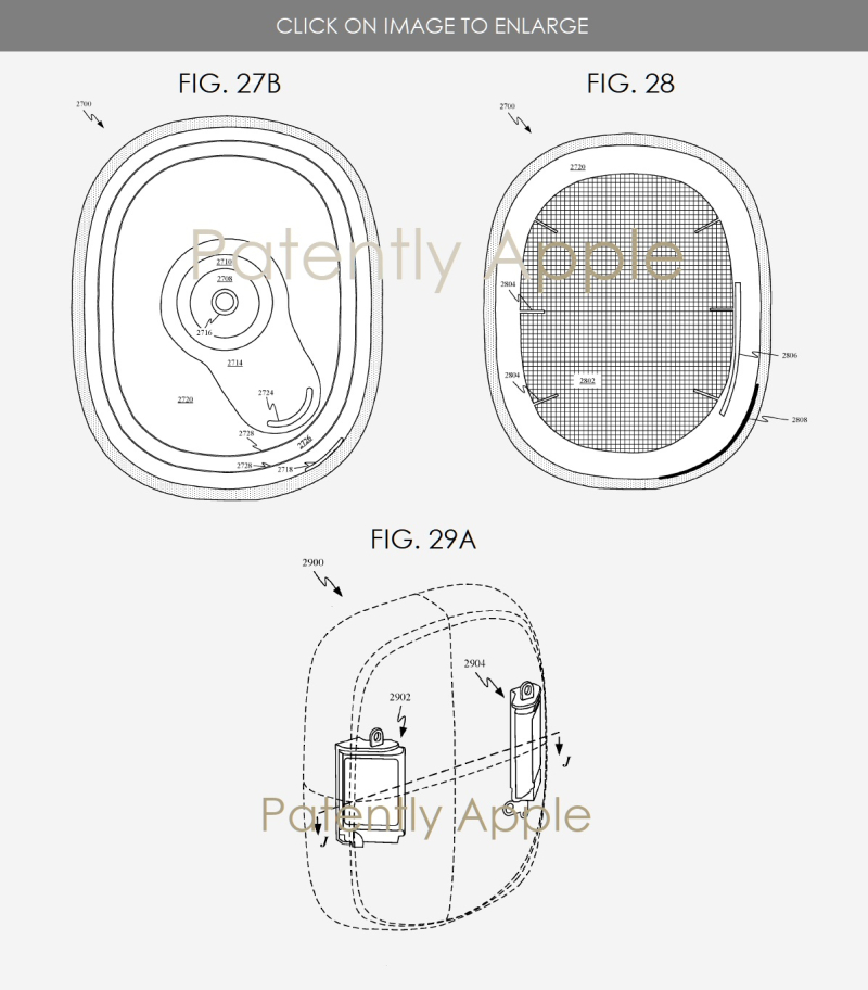 6 various earphone features illustrated in figs 27b  28 and 29a - Patently Apple IP report May 26  2019