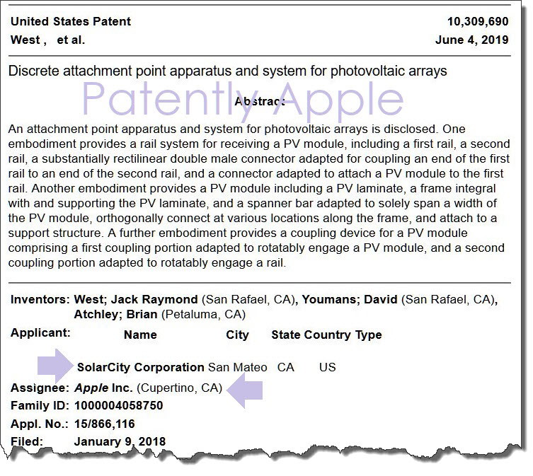 2 X2  US PATENT SHOWING APPLE & SOLARCITY