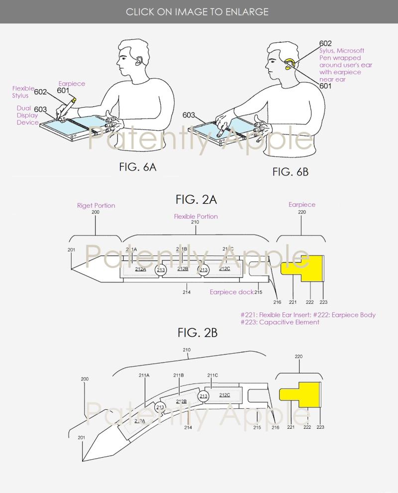 3 X microsoft smart pen wraps around user's ear