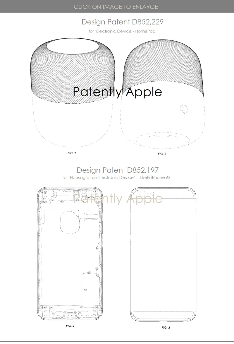 4 key design patents  homepod and iphone 6s design patents June 25  2019